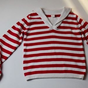 Girls' Red and White Striped Sweater